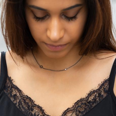 Zirkonia Halskette Schwarz