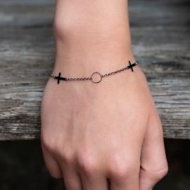Kreuz Armband Schwarz