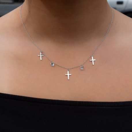 Zirkonia Kreuzkette Weiß