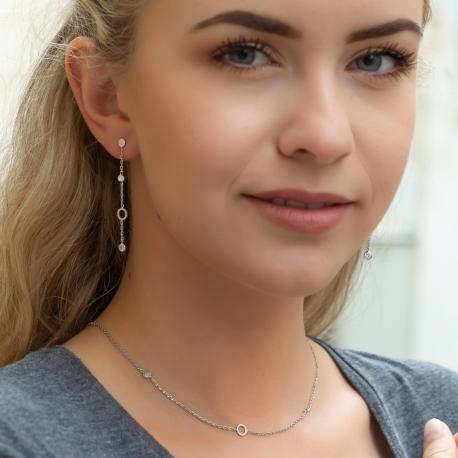 Zirkonia Halskette Weiß