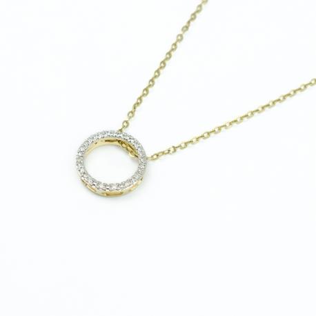 Diamanten Kreis Anhänger Gelbgold