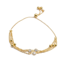 Ziehverschluss Armband Gold mit Zirkonia