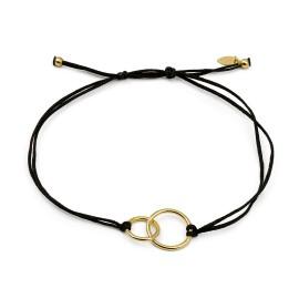 Schwarzes Schnur Armband mit zwei Ringen