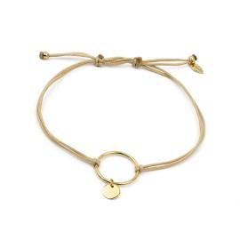Schwarzes Schnur Armband mit Ring und Plättchen
