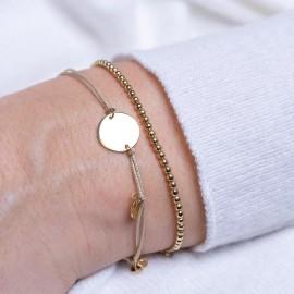 Beiges Schnur Armband mit Platte