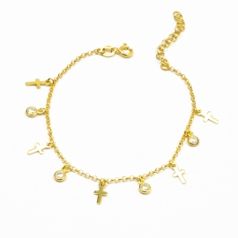 Kreuz & Zirkonia Armband Gold