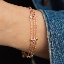 Ziehverschluss Armband Rosé mit Zirkonia