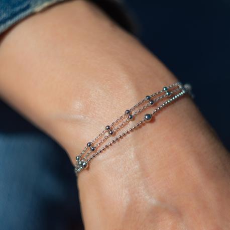 Ziehverschluss Armband Silber mit Kugeln